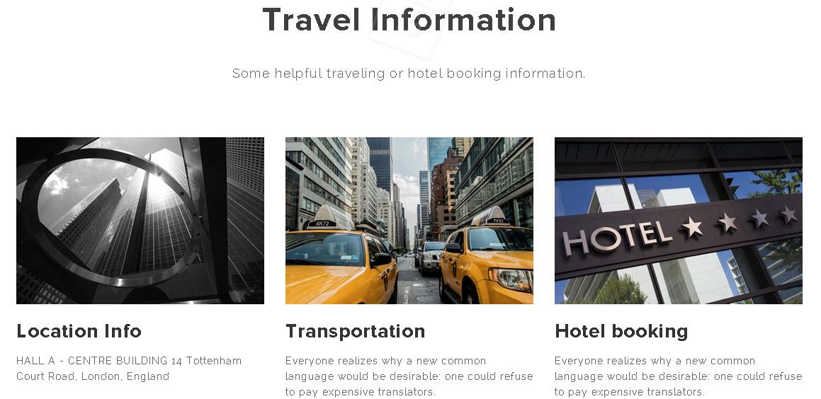 Ramsey WordPress Event Theme - Travel information