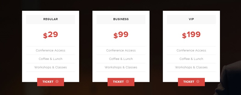 Ramsey WordPress Event Theme - Pricing Table