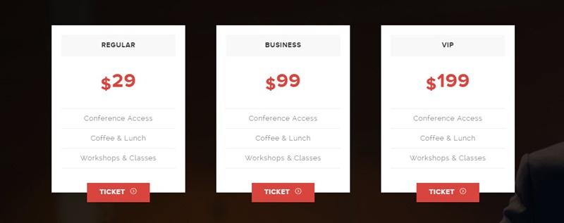 Ramsey WordPress Event Theme - Pricing Table