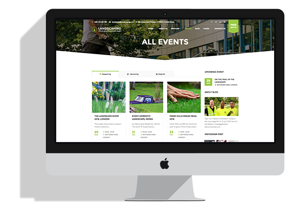 Smart events system Landscaping WordPress theme