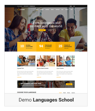 Education WordPress theme - Demo Languages school