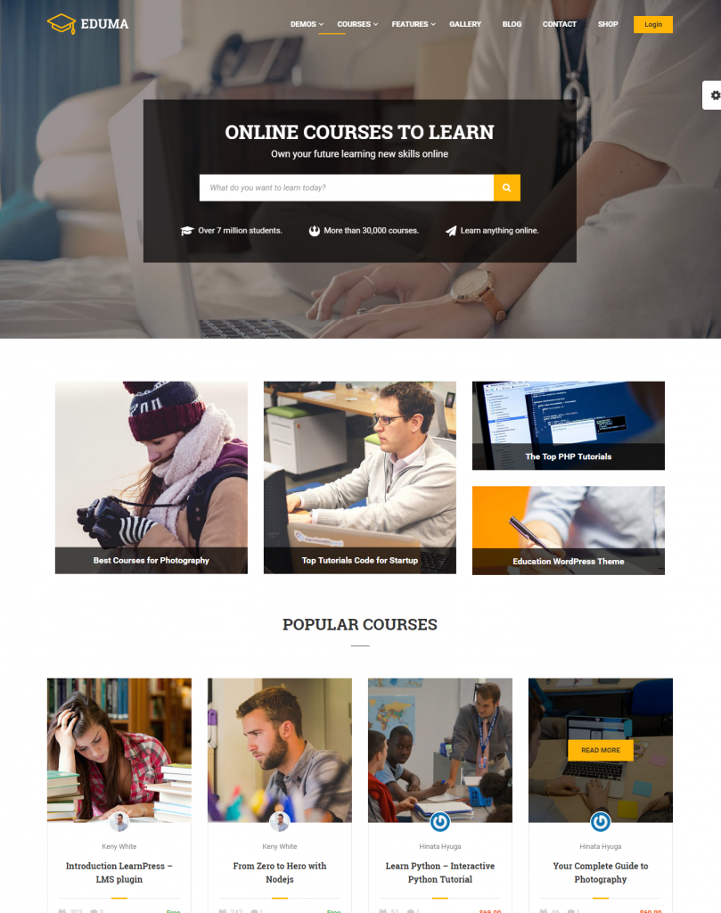Image: Education WP's Course Hub Demo – similar to Udemy and Coursera style