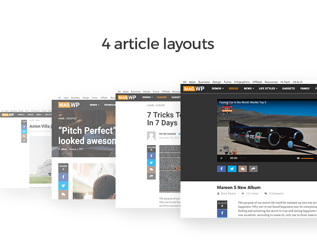 4 article layouts for WordPress blogs