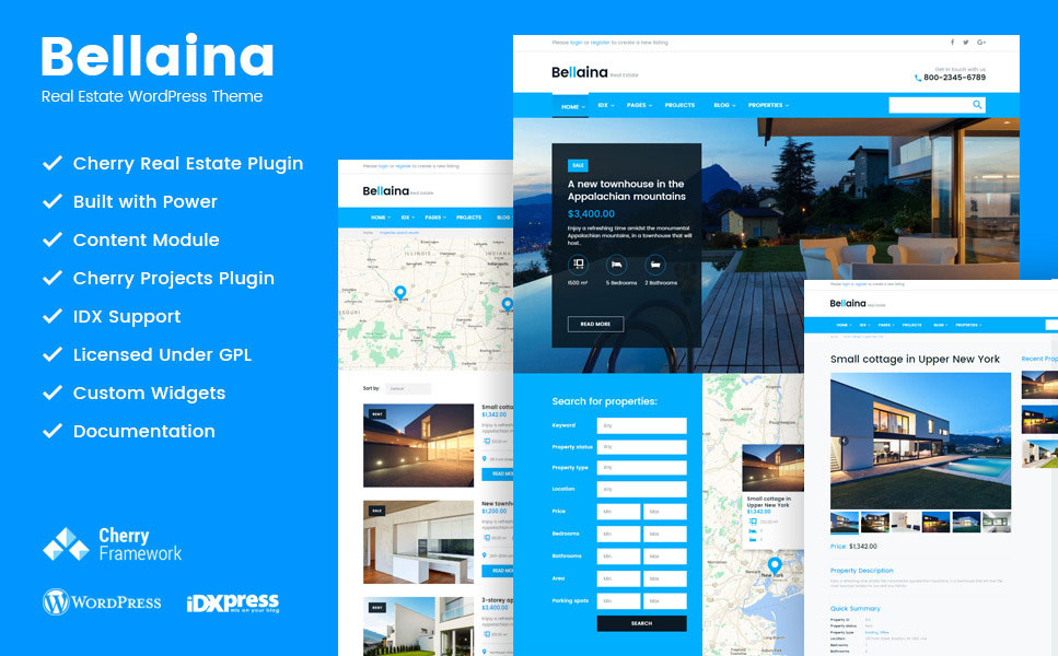 bellaina smart and retina ready wordpress theme for real estate