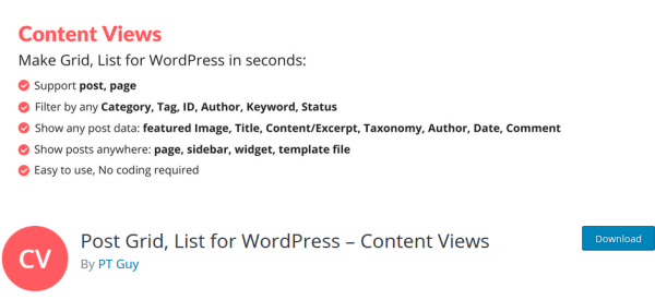Content Views WordPress Plugin