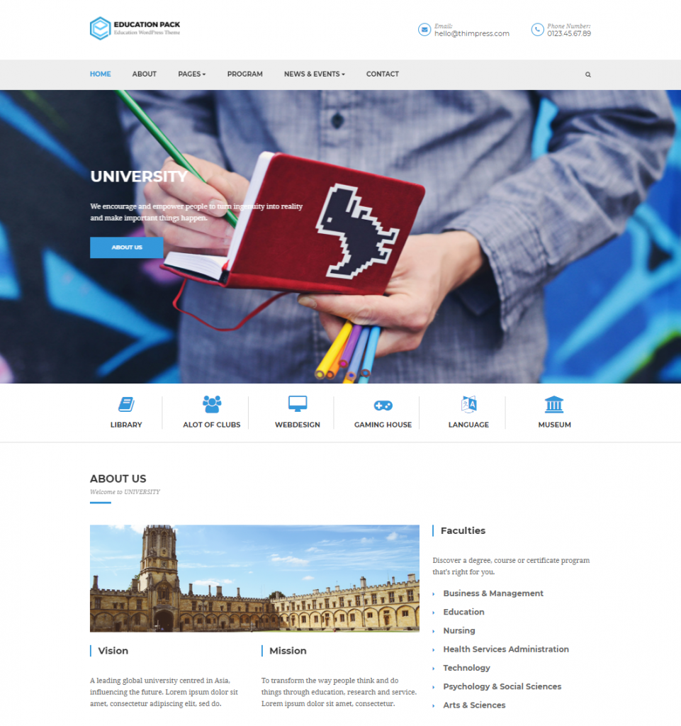 Education Pack: #1 Free Education WordPress Theme