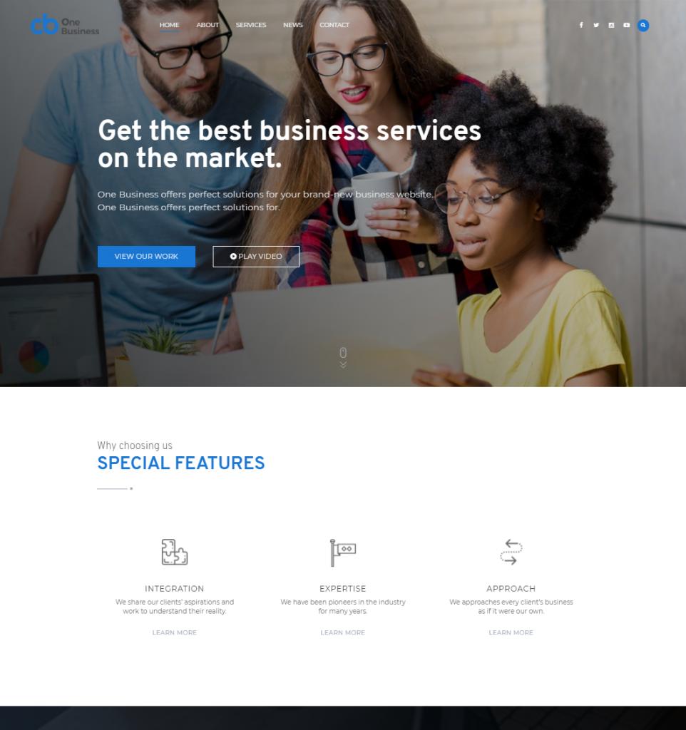 Free Business WordPress Theme: One Business 2017