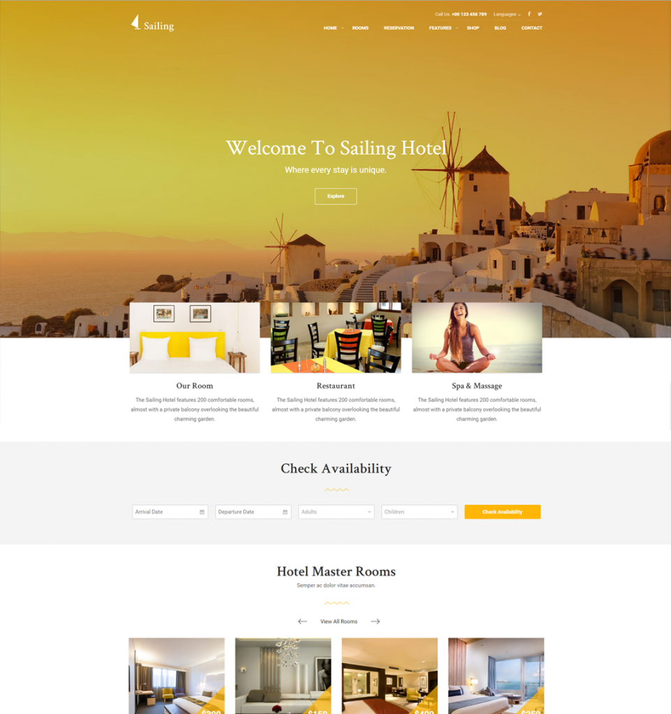 Hotel and Resort WordPress Theme | Sailing