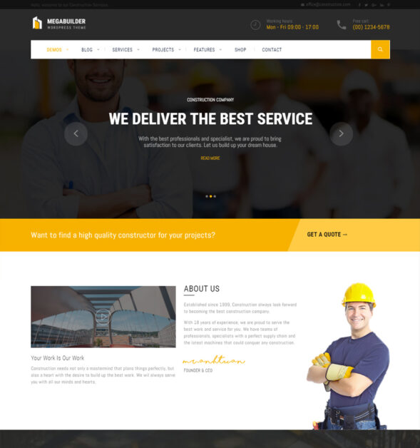 Construction WordPress Theme for Industrial & Architecture | MegaBuilder