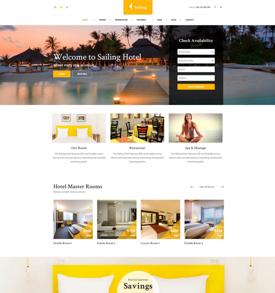 BnB Booking  – Hotel Resort Booking WordPress Theme