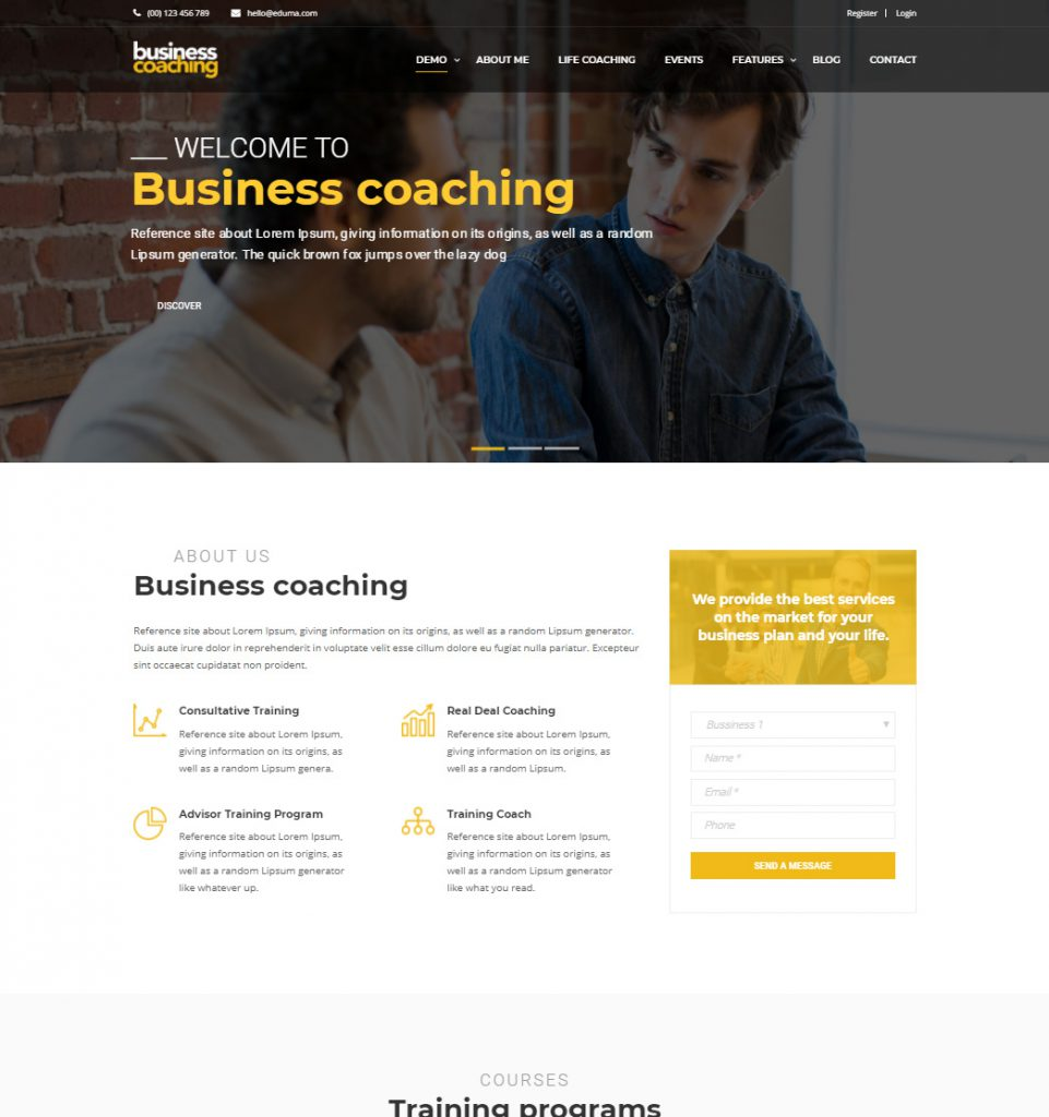 Business Coach – Business Speaker and Coaching WordPress theme