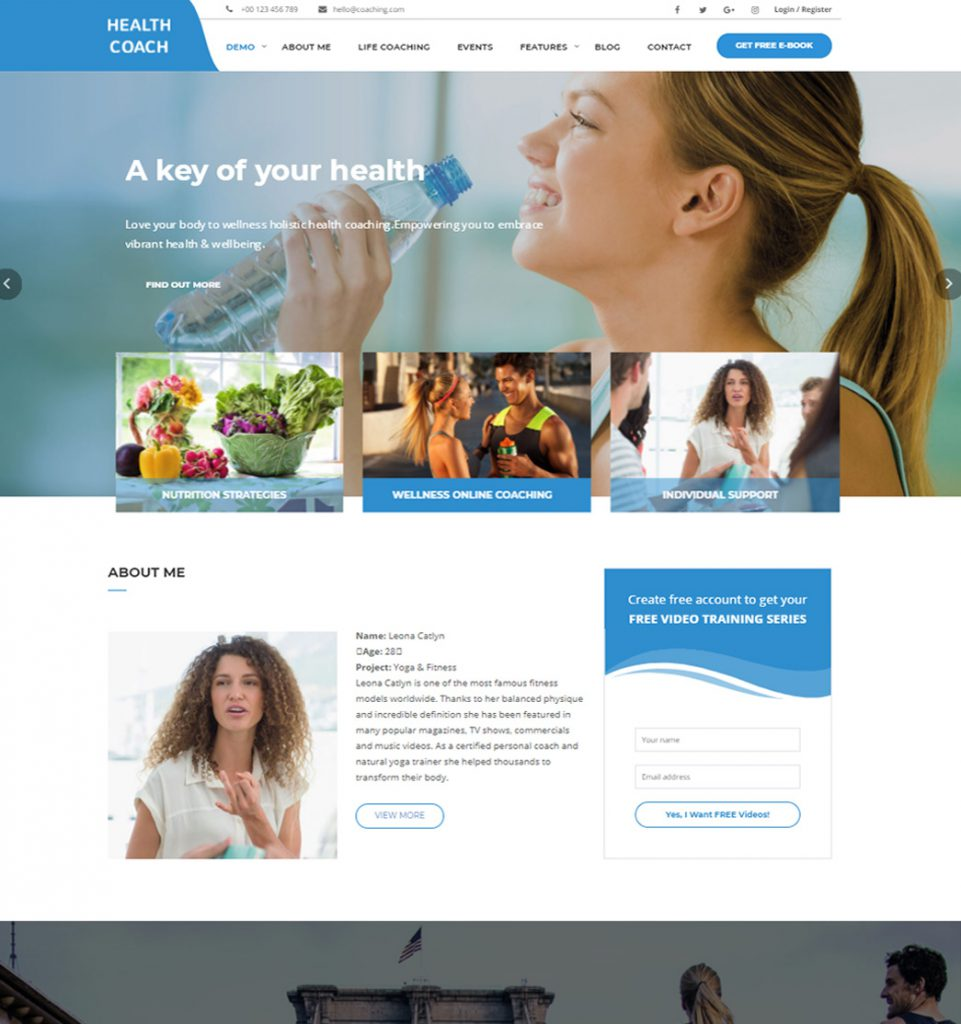 Healthy Key – Speaker and Life Coaching Exercise WordPress theme