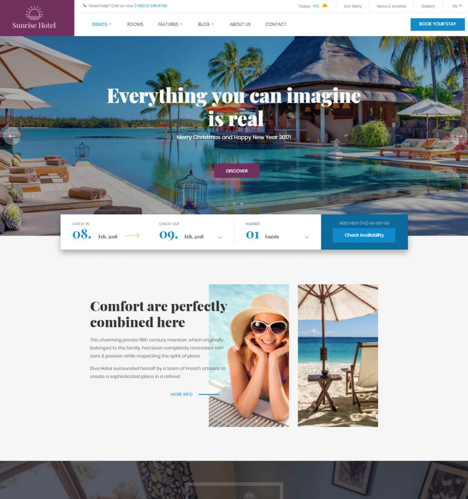 Sunrise WP – Hotel Resort Booking WordPress Theme