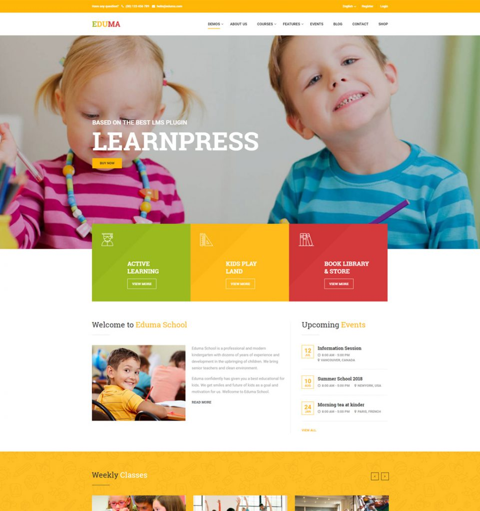 Kindergarten – Education Kids Elearning WordPress Theme