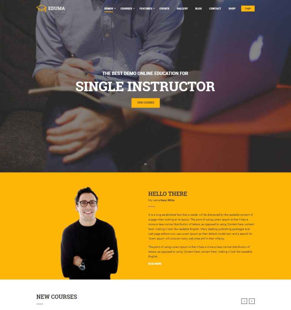 Single Instructor – Education Tutor Elearning Teacher WordPress Theme