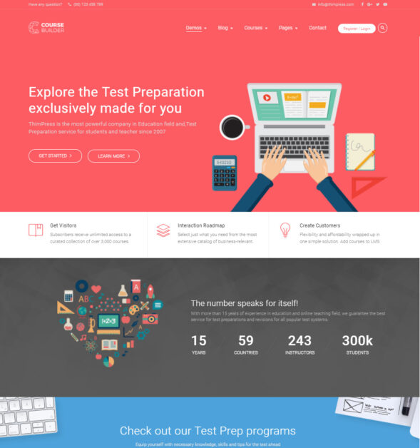 Test Prep Wordpress Theme For Online Education And Test Preparation