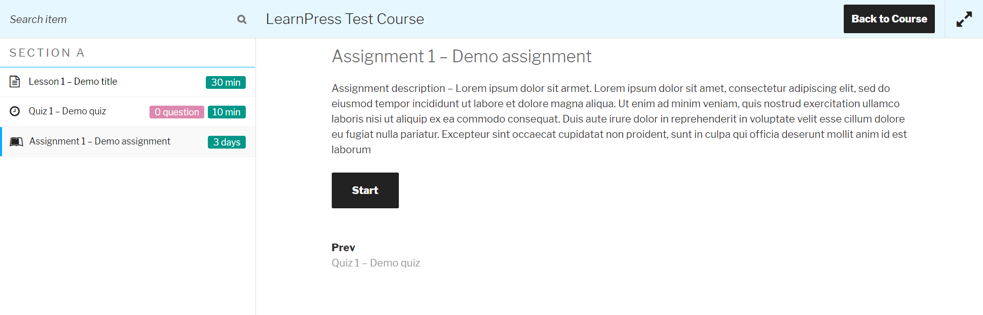 Assignments Add-on for LearnPress