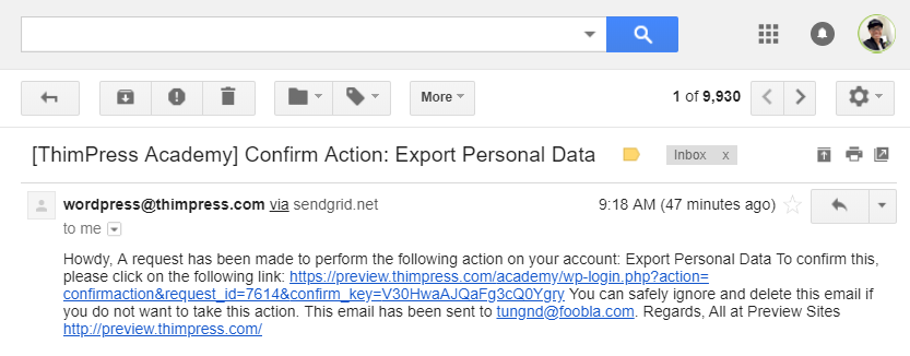 LearnPress GDPR Email Content
