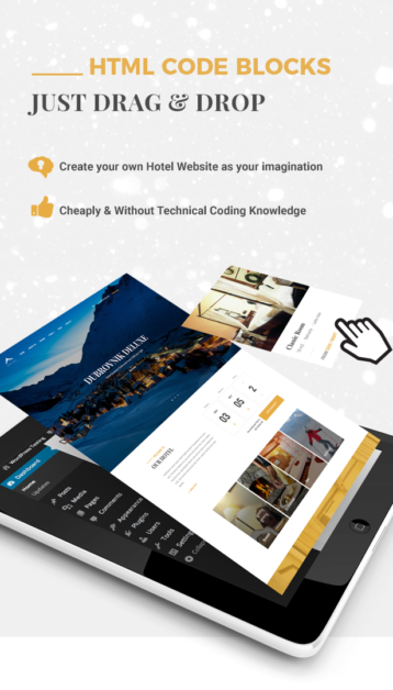 Hotel WordPress theme - Drag and Drop page builder