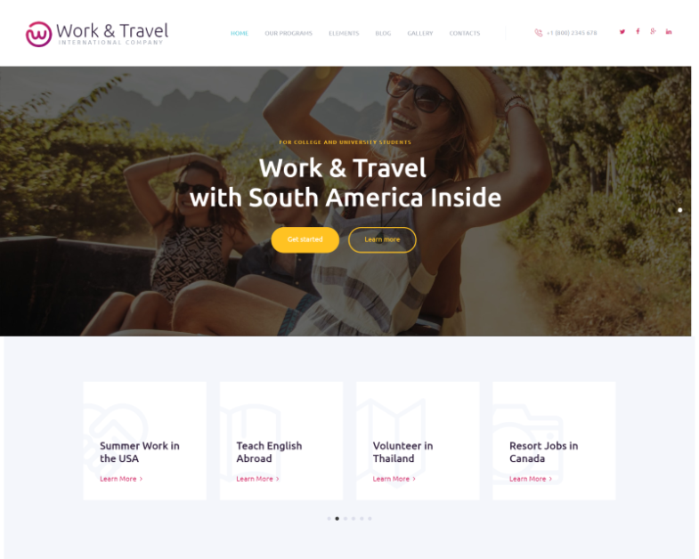 Work and Travel WordPress theme