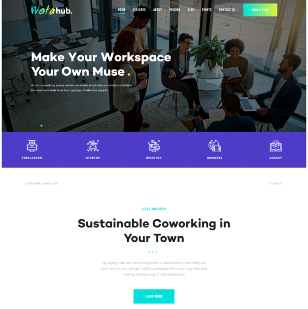WotaHub Coworking Space WordPress Theme