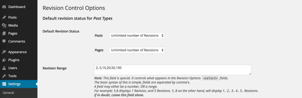 Revision control options