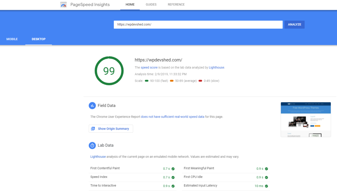 pagespeed insights desktop