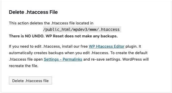 delete .htaccess file