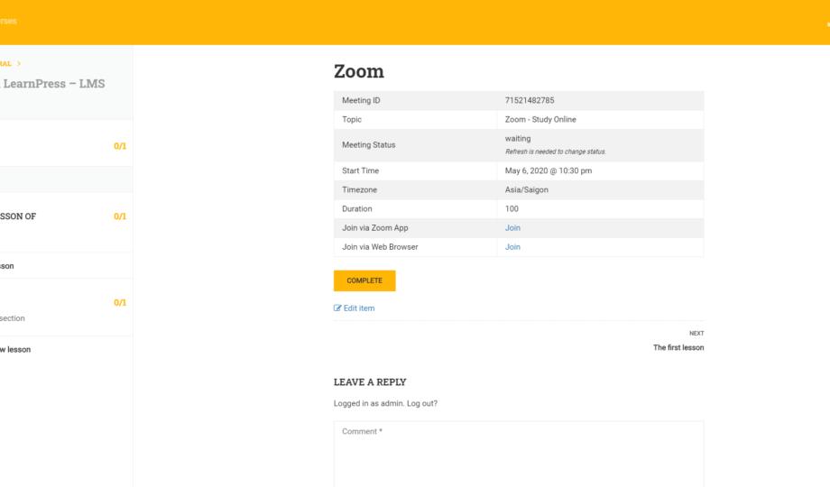 WordPress Zoom Meetings