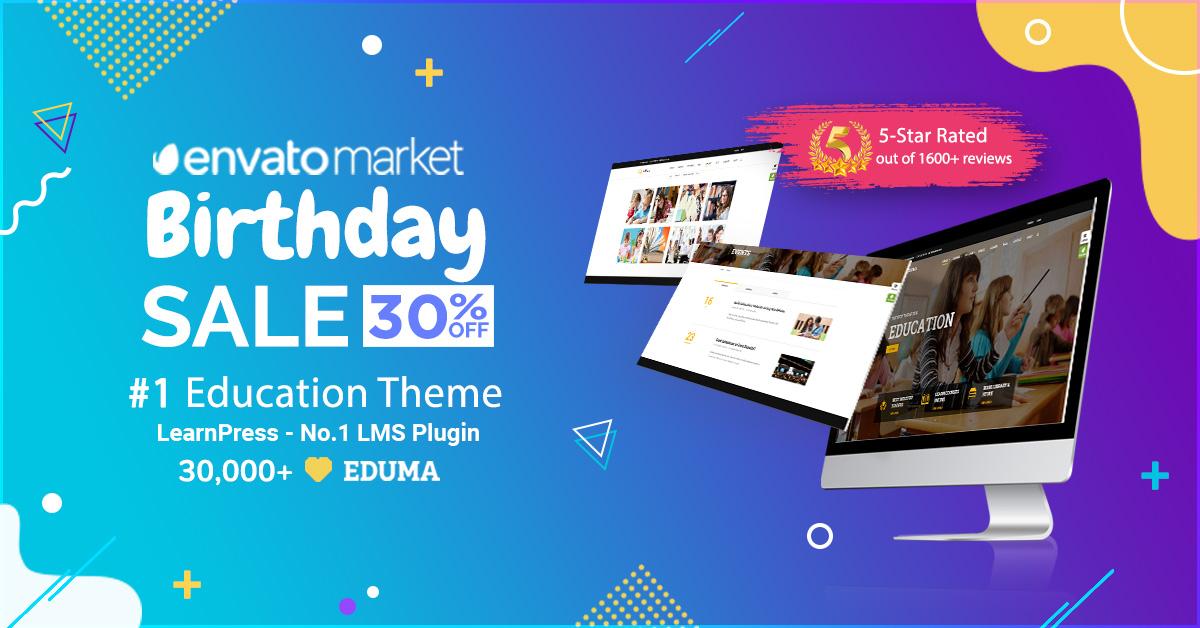 Evanto Market Birthday – Eduma 30% Off