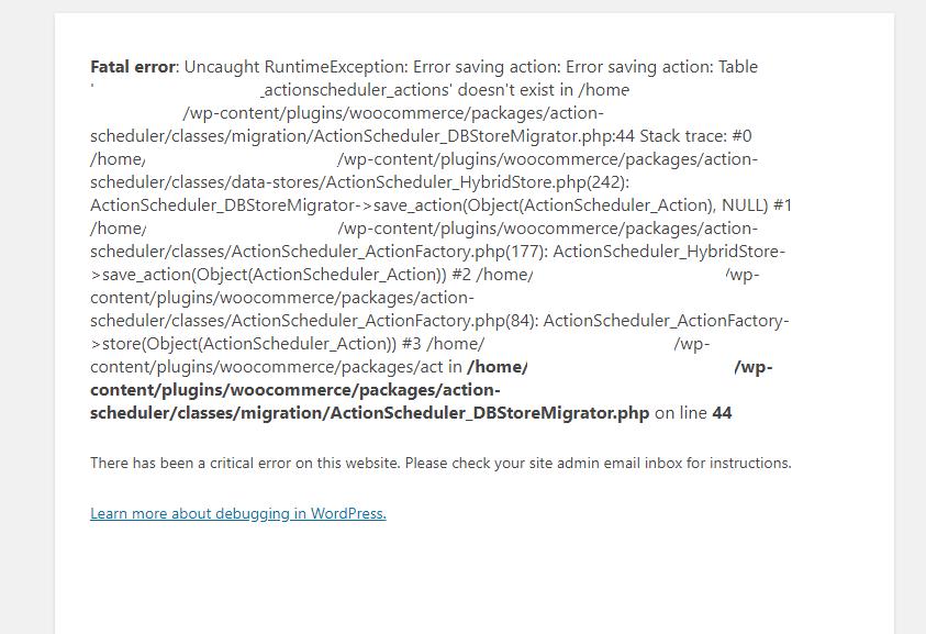 ActionScheduler Error