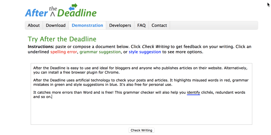 after the deadline grammar checking tool