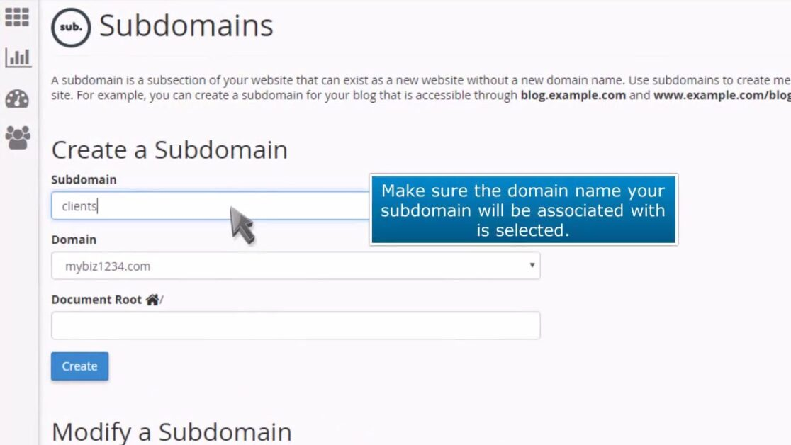 how to make a subdomain