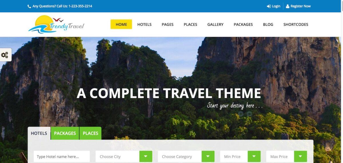 trendy travel WordPress Travel Agency Theme