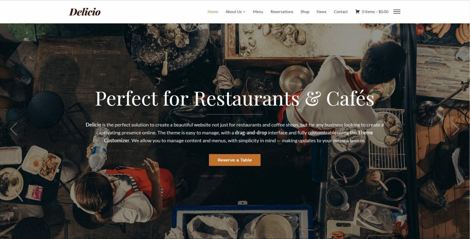 delicio wordpress restaurant theme