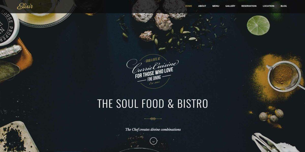 elixir wordpress restaurant theme