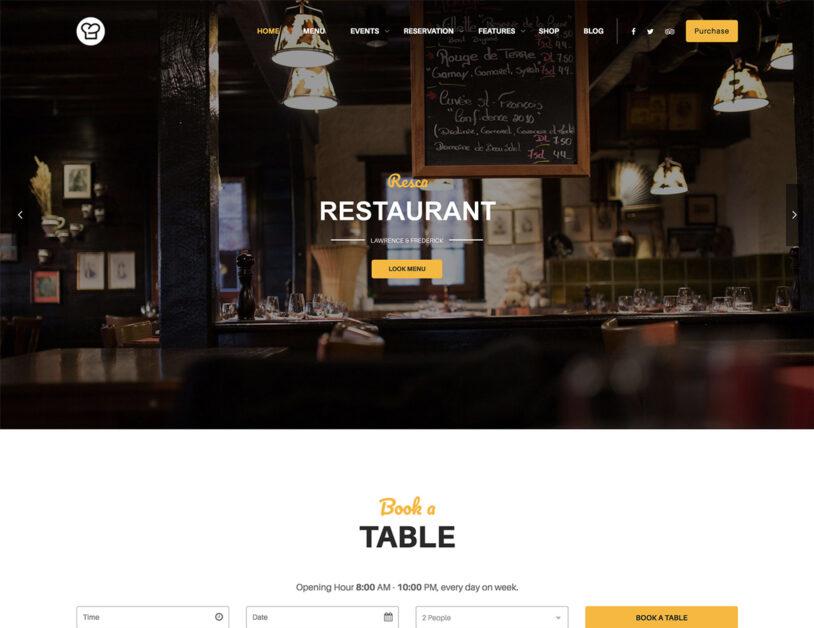 resca wordpress restaurant theme