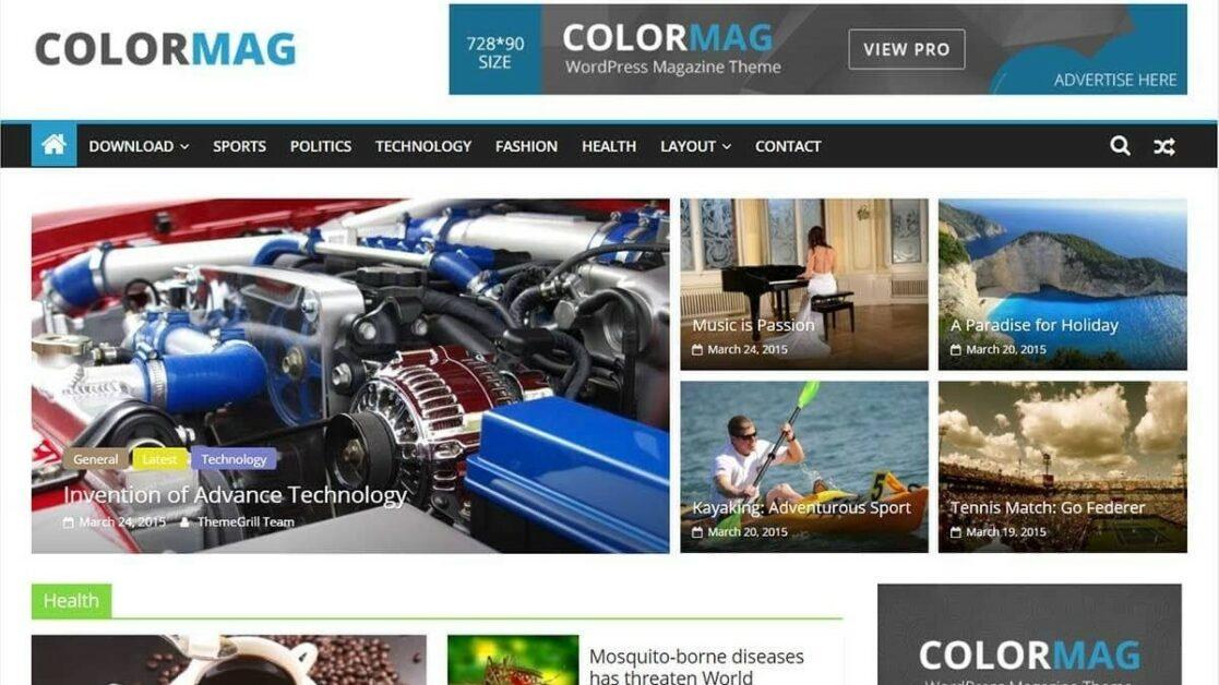 colormag wordpress newspaper theme