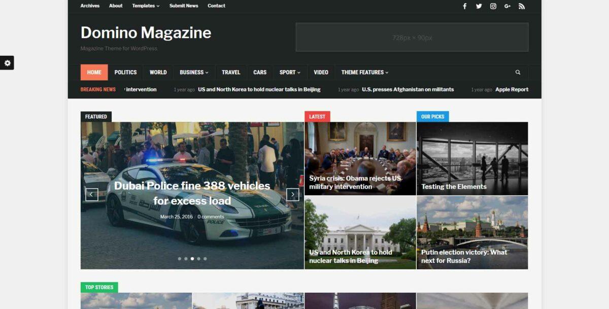 domino magazine wordpress theme