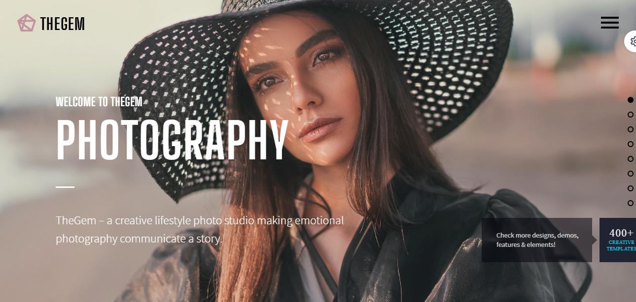 thegem smart and multi purpose wordpress photographic theme
