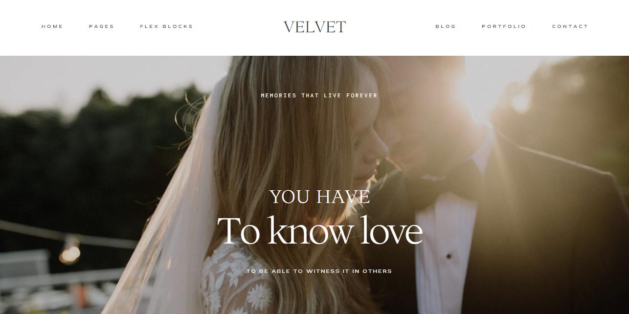 velvet a wedding and event photography wordpress theme