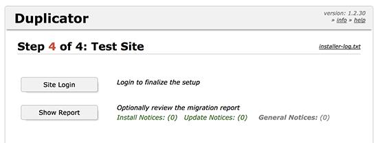 duplicator finished migrate wordpress site