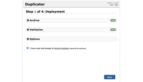 installer migrate wordpress site