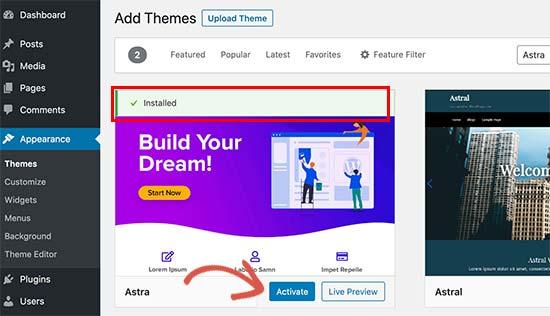 active theme how to install wordpress theme