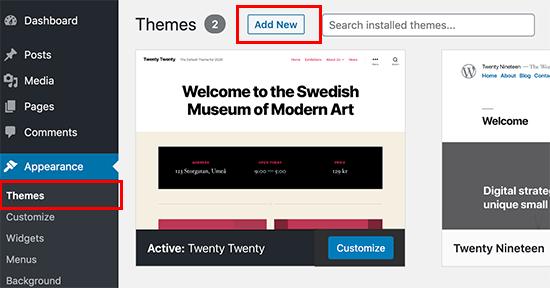 add new theme wp admin how to install wordpress theme