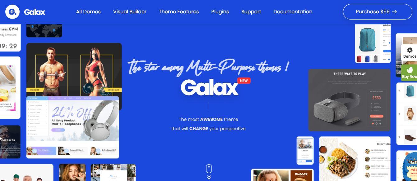 galax multi purpose and creative wordpress selection