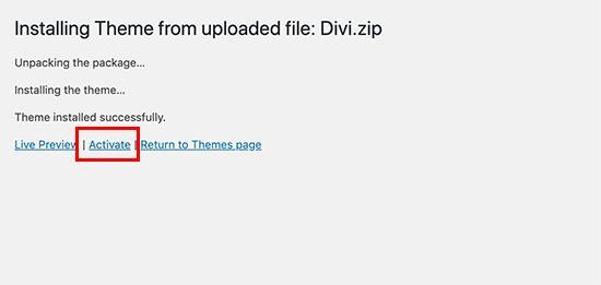 theme installed how to install wordpress theme